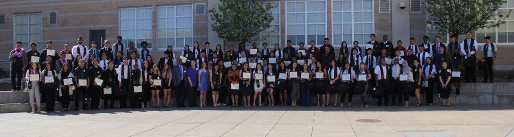 A group picture of all 2018 ITA graduates from De Anza, El Cerrito, and Kennedy High School.